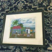 "Helen Davis Ltd Edition Print ""Wash Day"" Tropical Island Caribbean Folk Art Sea"