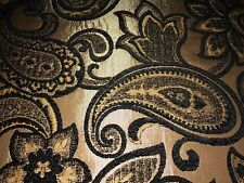 Black Chenille Bronze Paisley Upholstery Fabric 1.5 Yds