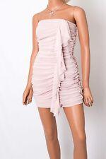 EXPRESS Cocktail Mini Dress Pink Chiffon Strapless Wedding Prom Size 0 XS Small
