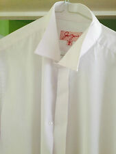 SLIM FIT Men's white Edwardian wing collar shirt ex con wedding