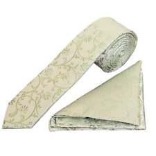 Sage Green Floral Skinny Mens Tie and Handkerchief Set Slim Wedding Tie Prom Tie