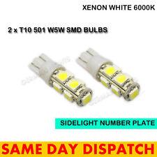2 x 501 9 SMD LED Numero Targa Luce Laterale Lampadine Interni Bianco Xenon T10 W5W