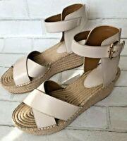 COACH Women's Primrose Platform Espadrille Sandals Chalk Size 10B Wedge Heels
