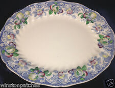 "ROYAL DOULTON POMEROY BLUE MULTICOLOR 15 1/4"" OVAL SERVING PLATTER SCALLOPED"