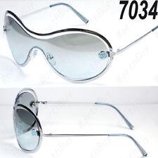 New DG Eyewear Mens Designer Shield Blue Pilot Sunglasses Fashion Shades Wrap