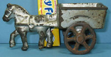 """AUTHENTIC & OLD TINY HORSE AND WAGON * 4"""" LONG CAST IRON TOY * NOW ON SALE  T113"""
