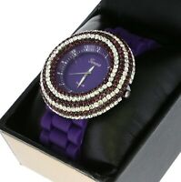 Cute Ladies 6 Rows Iced Out Crystal Bezel Quartz Watch Purple Silicone Band