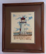 Lighthouse Painting T P Nagle Cheboygan Crib Light Michigan watercolor ink