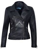 Ladies BRANDO Black Biker Style Soft Napa Italian Leather Jacket 2588