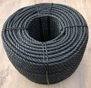 Black 3 Strand Polypropylene Poly Rope 6mm, 8mm, 10mm and 12mm