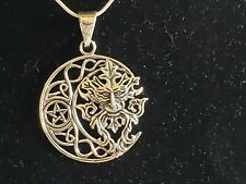 """Sterling Silver Moon Star Green Man Pendant Includes a 20"""" Italian Snake Chain"""