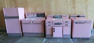 Vintage Pink Wolverine Toy Kitchen Set Sink Stove Refrigerator Washing Machine