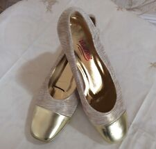 Ladies New Van Dal Gold Nubuck Wedge Court Shoes - Riviera - Size UK 6.5 D