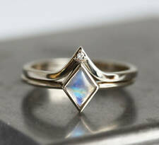 New Kite Rainbow Moonstone Ring with Diamond Crown Ring Set 14k White Gold Gift