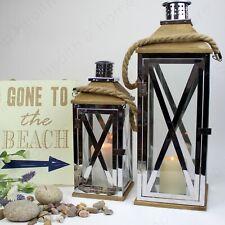 Glass Lantern Holder with Rope Handle. Coastal Nautical Style. Large or X Large.