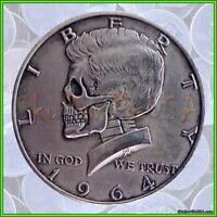 1964 Hobo Kennedy Half Dollar & Free Case - Rare Collectible Fantasy Skull Coin