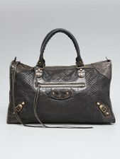 Balenciaga Grey Cross Perforated Lambskin Leather Motorcycle Work Bag