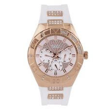 W0653L4 Guess Luna White Silocone Band Rose Gold Case Crystal Accented Watch