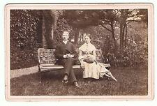 CABINET CARD OF A COUPLE IN THE GARDEN - AMAZING GARDEN BENCH BY W WOOD URMSTON