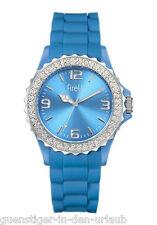 FIRETTI Armbanduhr Damenuhr Uhr mit funkelnden Glassteinen blau NEU