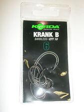 Korda Krank Carp Hooks 10pk Barbless ALL SIZES Carp fishing tackle