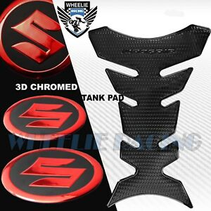 "PERFORATED BLACK PRO GRIP FUEL TANK PAD+2"" 3D SUZUKI LOGO FAIRING EMBLEM STICKER"