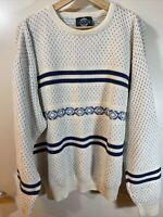 Vintage Jantzen Crew Neck Sweater Mens XL White Grandpa Pull Over Made In USA