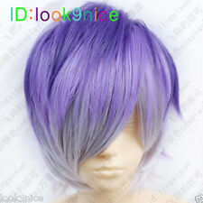 DIABOLIK LOVERS Sakamaki Kanato Short Purple mix colors Cosplay Fashion Wig