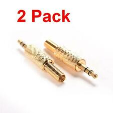 "2 Pack 3.5mm 1/8"" Stereo Male Audio TRS Gold Plated Jack Plug Adapter Connector"