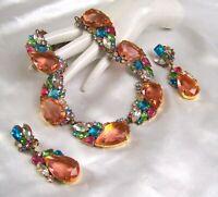 CZECH Designer Peach Teardrop Rhinestone Glass Necklace & Earring Set