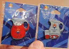 2002 SALT LAKE CITY OLYMPICS food PINS RED KOOLAID Full & Empty ORIG CARD