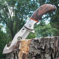 "9"" ELK RIDGE PAKKAWOOD Gut Hook SPRING ASSISTED Hunting Folding POCKET KNIFE NEW"