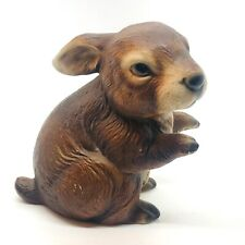Brown Easter Bunny Rabbit Realistic Ceramic Hand Painted Woodland Creature
