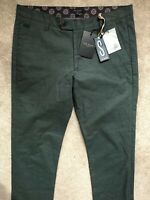 "TED BAKER MEN'S GREEN ""NEWYOR"" SLIM FIT TROUSERS PANTS CHINOS - 32L - NEW & TAGS"