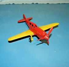 """Cast Iron SINGLE ENGINE PROPELLER AIRPLANE Red & Yellow  8"""" WINGSPAN Nice"""