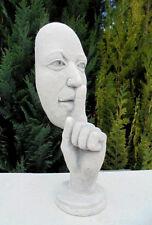 Gartenfiguren, Skulpturen, Bitte ganz leise, Steinguss, 28 cm, Büste, Gartendeko