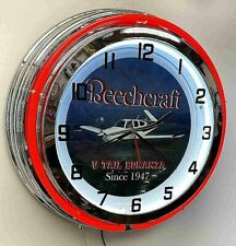 "Beechcraft Bonanza V Tail Sign 19"" Double Neon Clock Airplane Aircraft Red Neon"