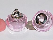 1pc  Gnome mushroom little Pendant Glass BOTTLE SCREW necklace wide Mouth PINK