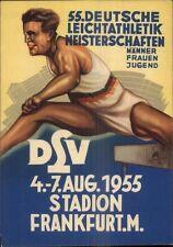 German Poster Art 1955 Youth Athletics Championship Track & Field Postcard gfz