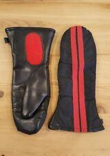 Vtg 70s 60s Ski-doo Snowmobile Black Faux Leather Gloves Mittens Men's Md stripe