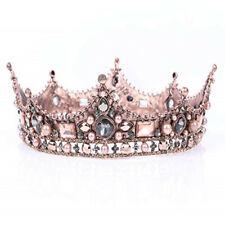 Baroque Crown Vintage Round Full Size Tiara Luxury Retro Headband Rhinestone