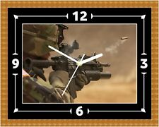 Army Soldier Gun Wall Clock Present Christmas Birthday (Can Be Personalised)