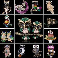 Vintage Rhinestone Crystal Animals Owl Birds Enamel Brooch Pin Women Jewelry Hot