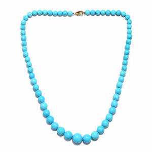 "14K White G Over 35.9Ct AAAA Rare Sleeping Beauty Turquoise Beaded 20"" Necklace"