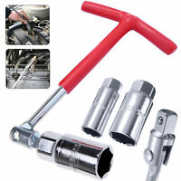 Spark Plug Removal Tool 16mm & 21mm T-Handle Flexible Spanner Socket Wrench Set