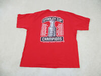 Reebok Detroit Red Wings Shirt Adult 2XL XXL Red Stanley Cup NHL Hockey Mens A58