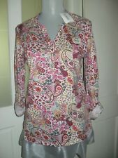 """PAISLEY DESIGN SUMMER TOP NEW + TAG SOFT STRETCH COTTON SIZE 10 chest 19"""" inch"""