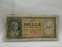 Old Italian Currency Note 1000 Lire, 1947, Signed Autograph