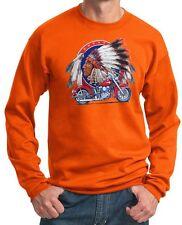 Mens Indian Motorcycle Biker Shirt Big Chief Pullover Sweatshirt