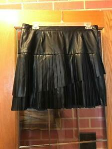 Nine West Faux Leather Black Pleated Skirt Size 14